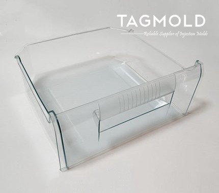 Refrigerator plastic storage compartment sample display