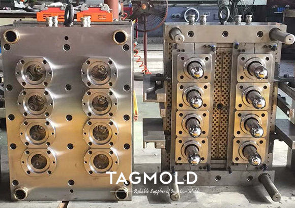 PET preform mould with 8 cavities