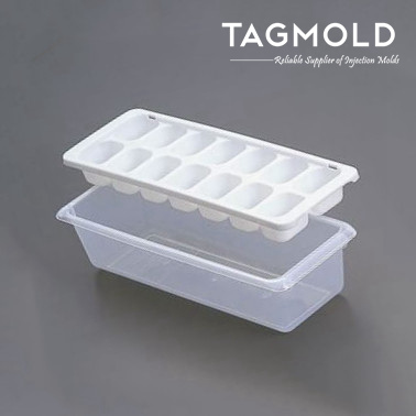 Plastic ice cube tray sample with base for refrigerator